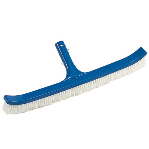 18 Curved Floor & Wall Pool Brush One Piece Construction With White Nylon Bristles