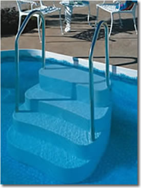 Pool steps ladders deck best buy pool supply - Above ground pool steps for decks ...