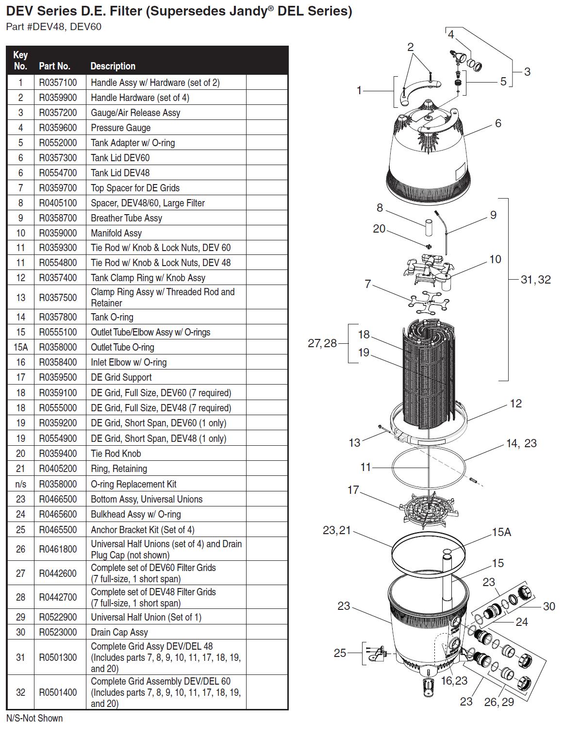 Jandy Dev Series De Filter Parts