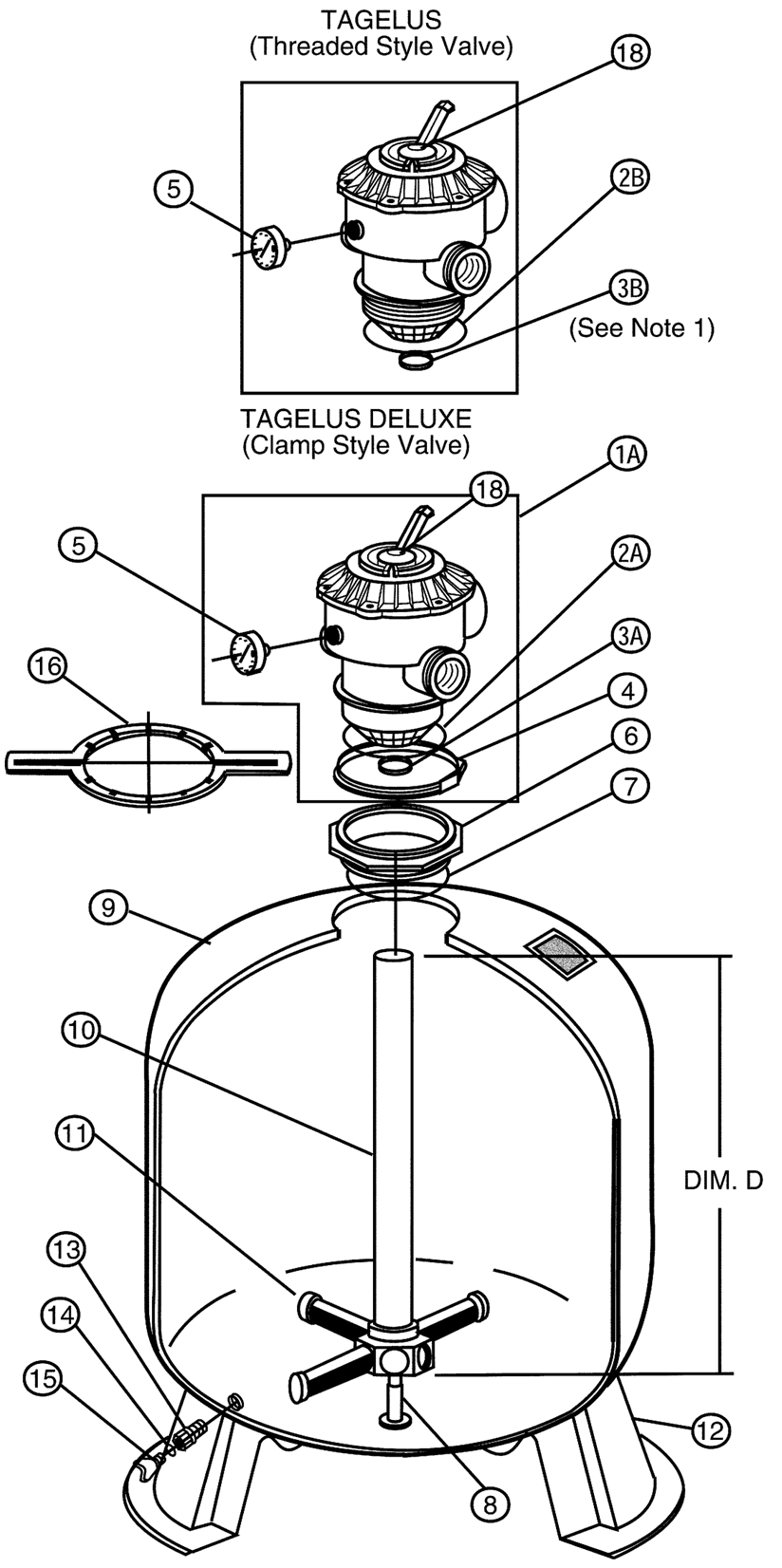 pentair tagelus pool filter parts