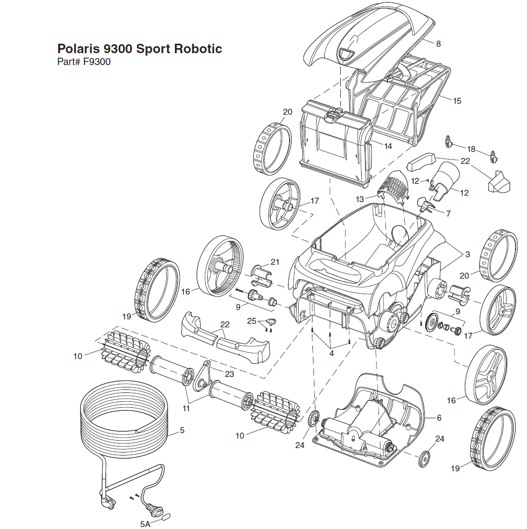 polaris 9300 sport pool cleaner replacement parts