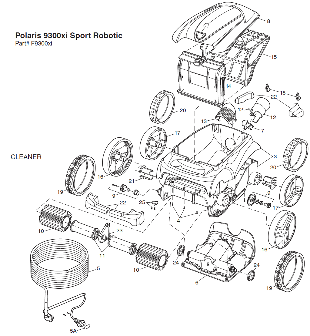 polaris 9300xi pool cleaner replacement parts