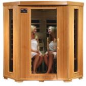 Hemlock 4 Person Far Infrared Sauna - Carbon Heaters - Corner Unit